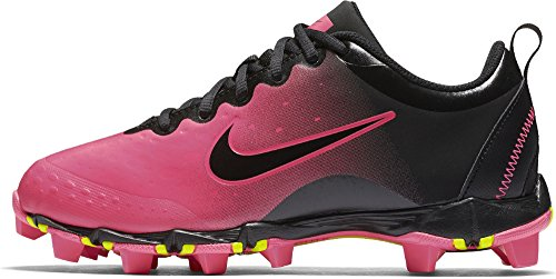 Nike Girls Hyperdiamond 2 Keystone Softball Cleat Black/Pink Blast/Vivid Pink Size 3.5 M (Lightweight Softball Cleats)