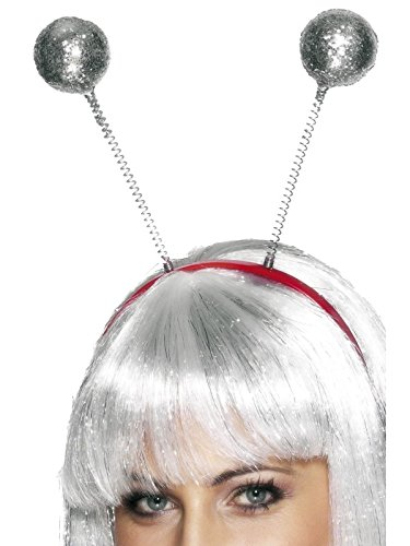 Glitter Ball Head Boppers, Silver, One (Headband Boppers)