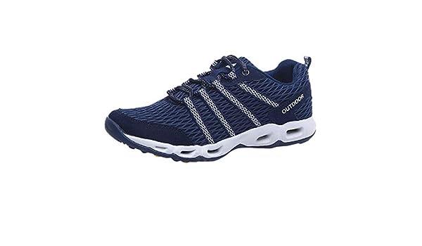 WORMENG - Zapatillas Deportivas para Hombre, Modernas, Transpirables, de Malla y Upper Azul Oscuro 41: Amazon.es: Ropa y accesorios