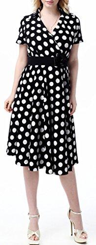 Wantdo Women's Vintage Bubble Cotton Dot Printed Dress