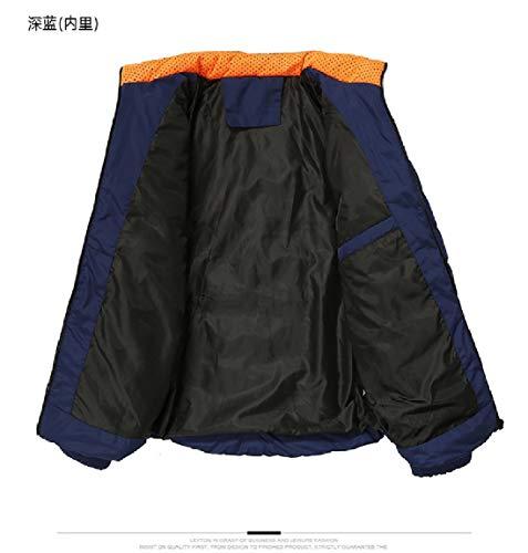 Collar Thicken Stand Men's Dark Parka Jacket Mogogo Blue Pocket Solid Cotton CtwaxRXqE