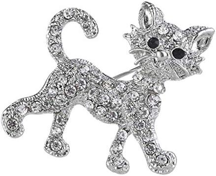 クリスタル、きらびやかなブローチピン、結婚式/デイリー/誕生日のヴィンテージブローチギフトを持つ女性のための小さな猫キティのブロ