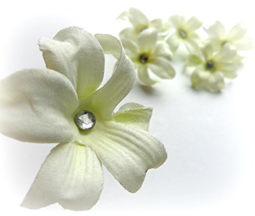 Small Lily Hair Pins with Rhinestone Crystal - Set of Six
