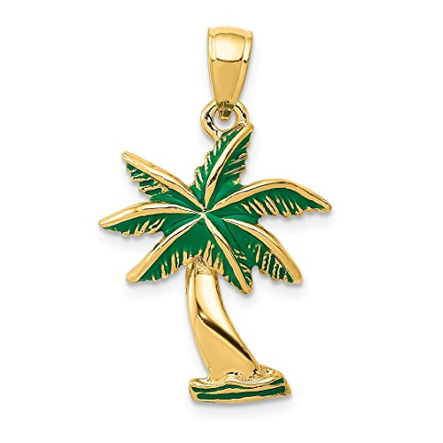 14k Yellow Gold Enameled Palm Tree Pendant Charm Necklace Sea Shore Fine Jewelry For Women Gift Set