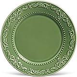 Porto Brasil Conjunto Com 6 Pratos Raso Acanthus Verde Sálvia