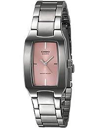 Casio LTP-1165A-4C Reloj Análogo para Mujer, Plata/Rosa