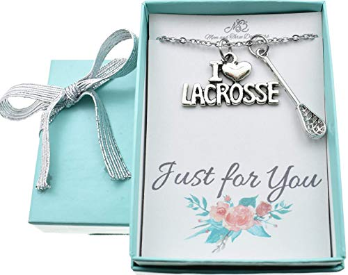 I Love Lacrosse necklace. Lacrosse jewelry. Lacrosse necklace. Lacrosse charms. Lacrosse stick. Lacrosse gift. Lacrosse coach.