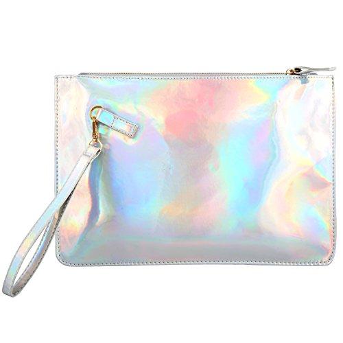(Holographic Clutch Bag PU Leather Cosmetic Bag Makeup Bag Toiletry Travel Bag Fashion Laser Envelope Evening Wristlet Handbag Protable Waterproof Zipper Hand Pouch Shining Evening Bag (Shiny Silver))