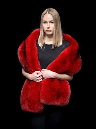 (Pure Red Blue Two Sides Fox Fur Handmade Giant Stole Wrap Boa Wrap Shawl)
