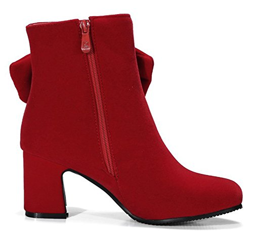 High Dressy Up Bows Chunky Booties Round Toe Red With Shoes Aisun Boots Zip Womens Inside Heel Elegant Ankle Xvxvap