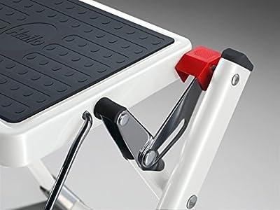 Hailo 9204015097 Mini in White Steel Folding Step Stool