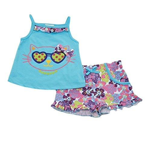 Buster Brown Toddler Girls Cat Sunglasses Tanktop and Shorts Set - Blue - Blue Sunglasses Buster