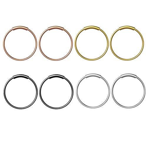 YHmall Steel Hinged Clicker Seamless Piercing Nose Ring Hoop Lip Ear Ring-8mm