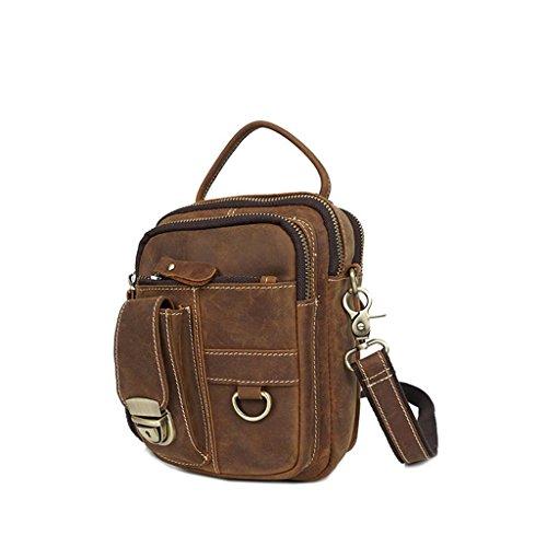 Men's Shopping Wear travel Shoutibao work Handmade Bag Leather resistant messenger Pouch Safe shoulder Retro Pocket gOOzdqBWUv