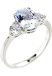 Dainty 10k White Gold Aquamarine 3-Stone Engagement Ring