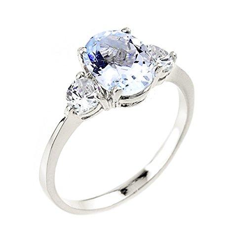Dainty White Aquamarine 3 Stone Engagement