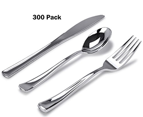 Piece Plastic Silverware Set, Looks Like Silver Cutlery - Solid, Durable, Heavy-duty Includes: 100 Forks, 100 Knives, 100 Spoons Perfect for Parties, Weddings & Catering Events (Extra Heavy Dinner Knife)