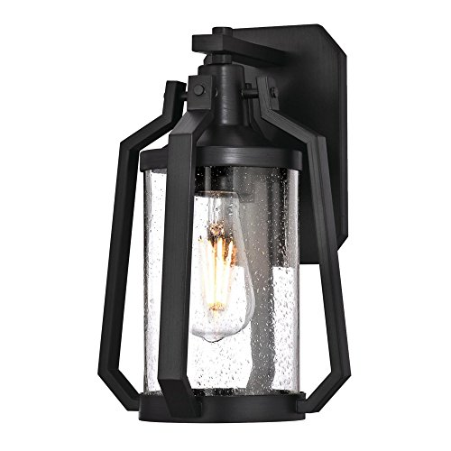 (Westinghouse Lighting 6347700 Ridley One-Light Outdoor Wall Fixture, Matte Brushed Gun Metal Finish with Clear Seeded Glass )