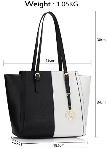 Designer Shoulder Over Bags Faux Women's CWS00464 Handbags Leather Shopper Sized Tote White Ladies Bag Black CWS00464 nYwRSq8gw