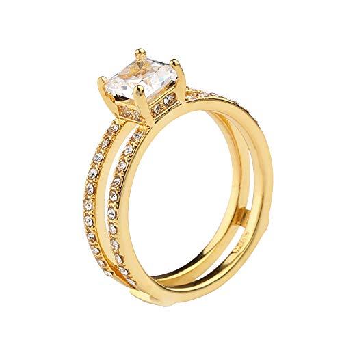- bjlongyi Women Ring Rhinestones Inlaid,Sparkling Double Layer Band Finger Ring Wedding Engagement Finger Jewelry Decor US 6