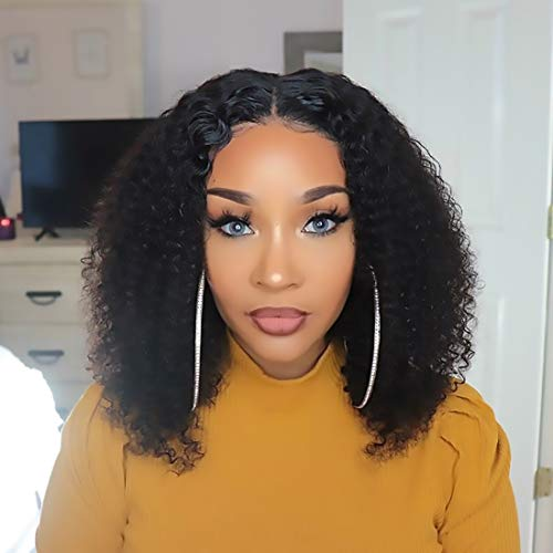 Original Queen Kinky Curly 13X6 Transparent Lace Front Wigs with Pre Plucked Hairline Human Hair Wigs with Elastic Band Natural Color 24Inch