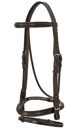 Double Bridle Dressage - Paris Tack Weymounth Double Dressage Bridles/Flash & Reins, Black, Full Size