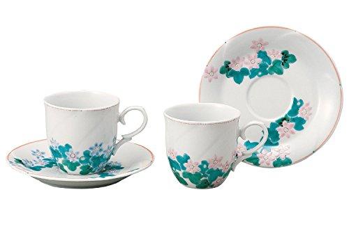 JAPANESE Kutani Pottery Hepatica Pair coffee K4-1041 Made in Japan ... by Kutani