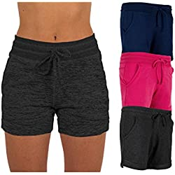 Sexy Basics Women's 3 Pack Active Wear Lounge Yoga Gym Casual Sport Shorts (3 Pack -Navy/Charcoal/Pink, Large)