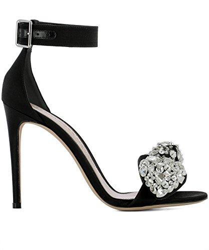 Alexander McQueen Women's 508306W4acr1064 Black Fabric Sandals