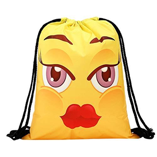 Outique Women Shoulder Bag Backpack Storage Bundle Rope Funny Cute Pattern Shopping Drawstring Bag