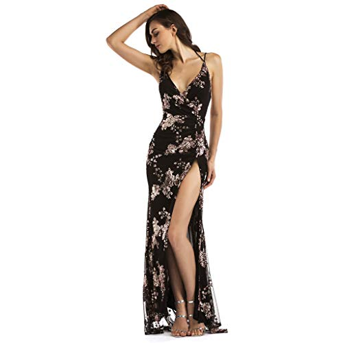 Sexy Women V Neck Maxi Sequin Halter Backless Split Cocktail Prom Gown Dress Christmas Dress Sequin Dress Cocktail Dress Velvet Dress Flapper Dress ()