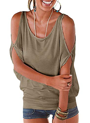 LEIYEE Womens Olive Green Cold Shoulder Tops Short Sleeve T Shirt Pullover Casual Dolman Blouses