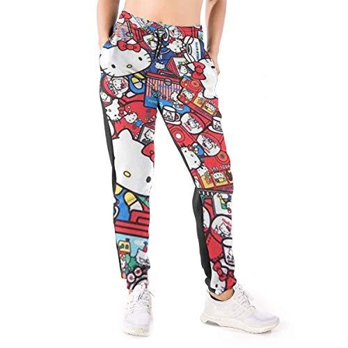 Xzcxyadd Women's Jogger Lounge Sleep Sweatpants Pajamas Pants Hello Kitty Cute Cat Print Drawstring Lounge Pants (S-XXL)