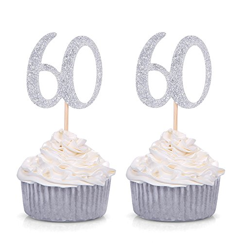 60th Anniversary Birthday (Set of 24 Silver Number 60 60th Birthday Cupcake Toppers Celebrating Anniversary Party Decors - Giuffi)