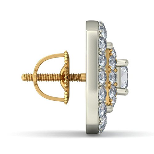 14K Or jaune rhodié carat au total White-diamond (IJ | SI) Boucles d'oreille à tige