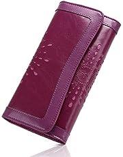 OB OURBAG Femme Hollow en Cuir Bourse Embrayage de Carte de crédit Portefeuilles Porte-Cartes Longues