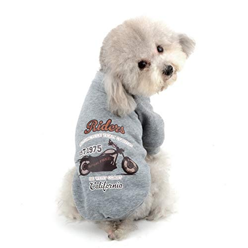 SELMAI Dog Fleece Sweatshirt Puppy Basic Cotton Sweater Pullover Casual Warm Outfits Autumn and Winter Small Pet Cat Chihuahua Yorkie Apparel Gray M