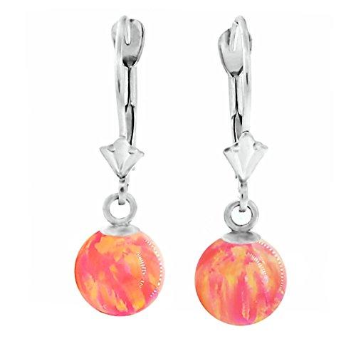 Trustmark 14K White Gold Deep Sea Coral Pink Synthetic Opal Ball Leverback Drop Earrings