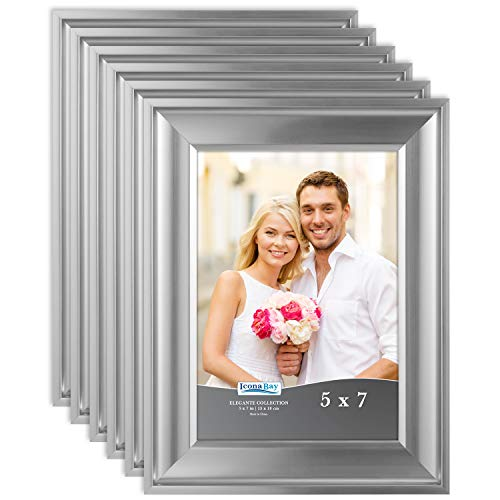 Icona Bay 5x7 Picture Frame (6 Pack, Silver), Silver Photo Frame 5 x 7, Wall Mount or Table Top, Set of 6 Elegante Collection