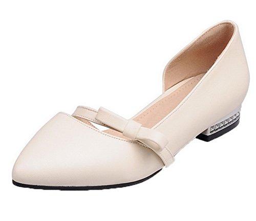 Amoonyfashion Womens Pull-on Lage Hakken Pu Stevige Puntschoen Pumps-schoenen Beige