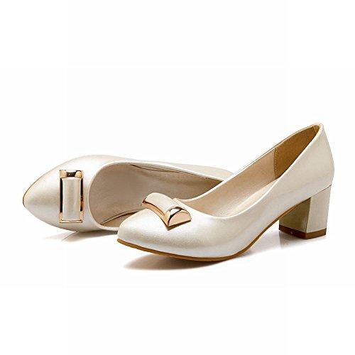 chunky heels Mee Damen Beige Lackleder Shoes Pumps Geschlossen R6FEq