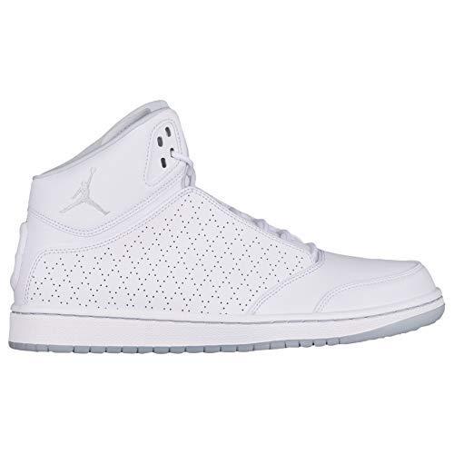 4fc639880fd445 NIKE Men s Air Jordan 1 Flight 5 Premium High Top Basketball Shoes  White Pure Platinum