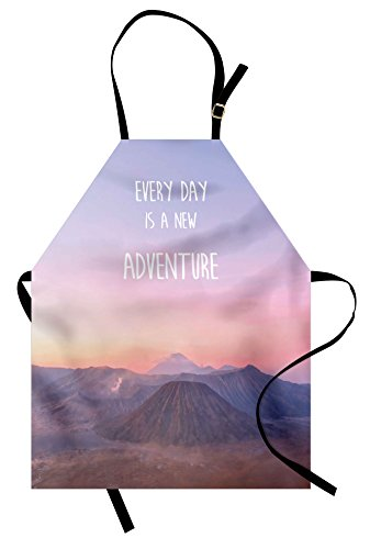 Ambesonne Adventure Apron, Ethereal View of Kawah Ijen Crater in Indonesia Scenic Misty Land, Unisex Kitchen Bib Apron with Adjustable Neck for Cooking Baking Gardening, Pale Pink Tan Pale Blue by Ambesonne