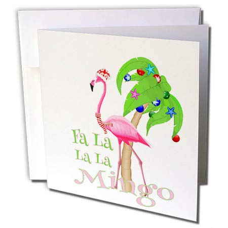 3dRose Macdonald Creative Studios – Merry Christmas - Funny Beach Christmas FA la la la Mngo Flamingo and Palm Tree. - 1 Greeting Card with Envelope (gc_300922_5)