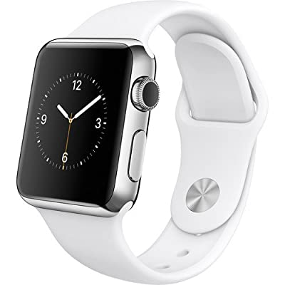 Apple Watch Series 1 38mm Stainless Steel Silver Case with White Sport Band Certified Refurbished