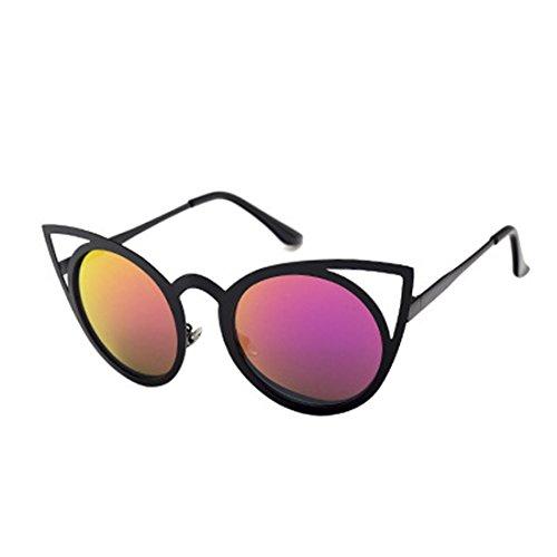 metal de Unisex Morado sol Gafas Redondo ojo de de sol Espejo Lente Gafas Negro Gafas gato Yefree Marco de vUPwB