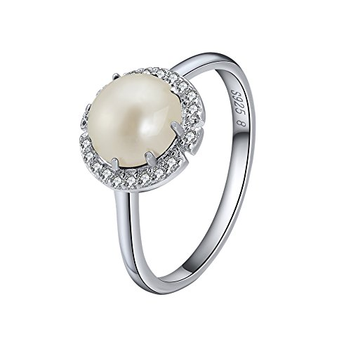 Prong Setting 8 (Rinntin Jewelry Sterling Silver Imitation Pearl Rings for Women Size 8 Prong Setting AAA Cubic Zircon)