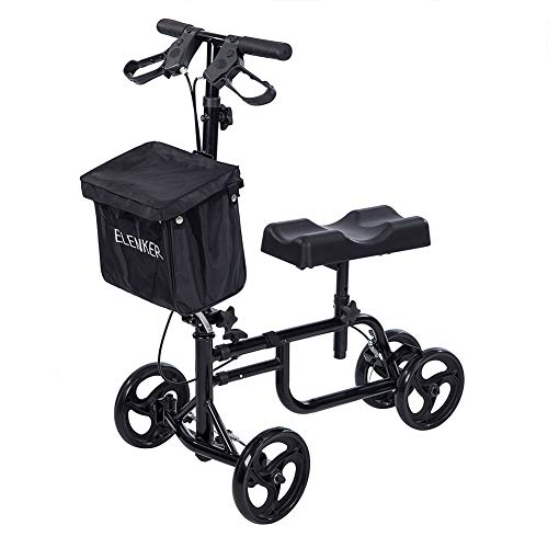 - ELENKER Best Value Walker Steerable Medical Scooter Crutch Alternative with Dual Braking System Black