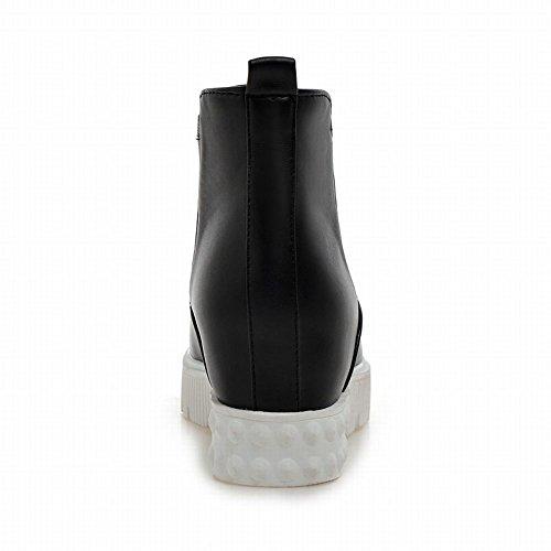 Carolbar Womens Mode Casual Enkel Komfort Plattform Dolda Kilklack Korta Stövlar