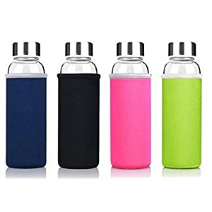 Glass Tea Infuser with Neoprene Insulating Protective Sleeve BPA Free - 550ml (Navy Blue)